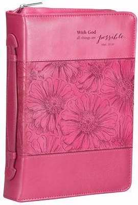 Bible Cover-With God/Pink Orchid-Medium-Pink Luxleather