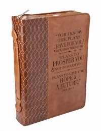 Bible Cover-For I Know The Plans/Tan Twirl-Medium-Luxleather