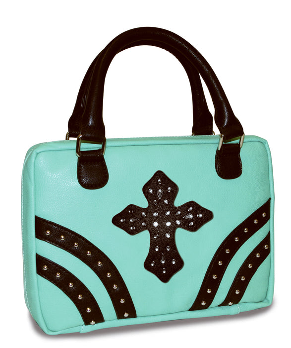 Bible Cover-Mint W/Rivets & Black Gem Cross-Medium