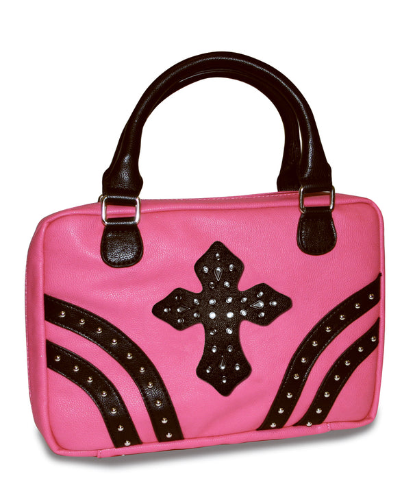 Bible Cover-Pink W/Rivets & Black Gem Cross-Medium