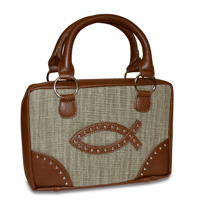 Bible Cover-Fashion Brown And Tan W/Fish-Medium