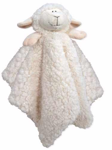 Blankie-Cuddle Bud-Lamb-Satin Trimmed-White (18 X 18)