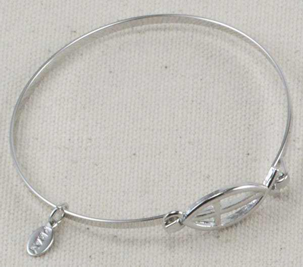 Bracelet-Ichthus-Hinged W/Small Fish Symbol (Silver Plated)