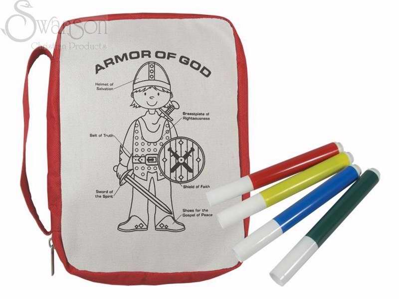 Bible Cover-Armor Of God W/Markers-Color & Wash-Medium-Red