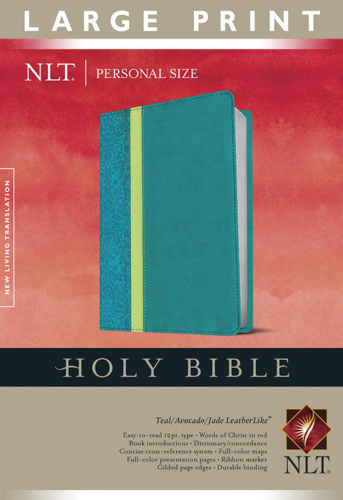 NLT2 Personal Size Large Print Bible-Teal Avocado/Jade TuTone