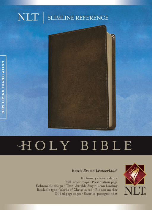 NLT2 Slimline Reference Bible-Rustic Brown LeatherLike