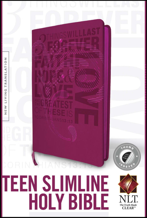 NLT2 Teen Slimline Bible/1 Corinthians 13-Hot Pink TuTone Indexed