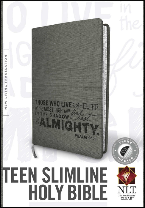 NLT2 Teen Slimline Bible/Psalm 91-Charcoal TuTone Indexed