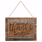 Acid Wash Sign-Give Thanks (13.75 x 10)