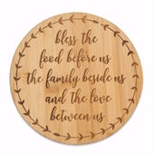 Bamboo Trivet-Bless The Food (7.5 Round)