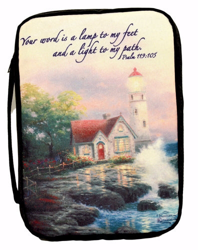 Bible Cover-Kinkade-Beacon Of Hope Lighthouse-X Large-Navy (Oct)