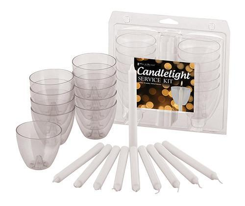 Candles - Candlelight Service Kit - Clear Wind Protectors (bobeches) And Candles