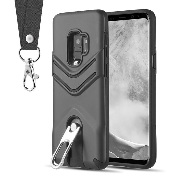newest c17ff 0f07e Samsung Galaxy S9 Plus Victory Hybrid Case with Stand and Lanyard - Black