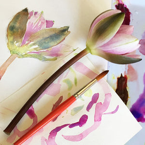 watercolour painted flower and real flower with brush