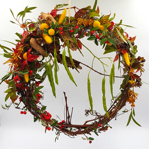 native flowers round wreath