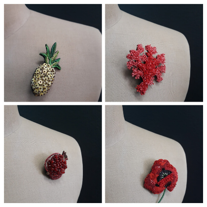 flower fabric brooches