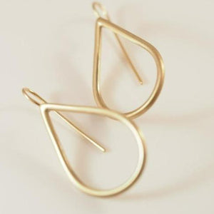 GOLD HOOP TEARDROP SHAPE EARRINGS