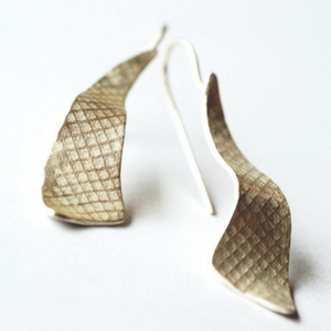 fabric imprint on surface long silver earrings hook style