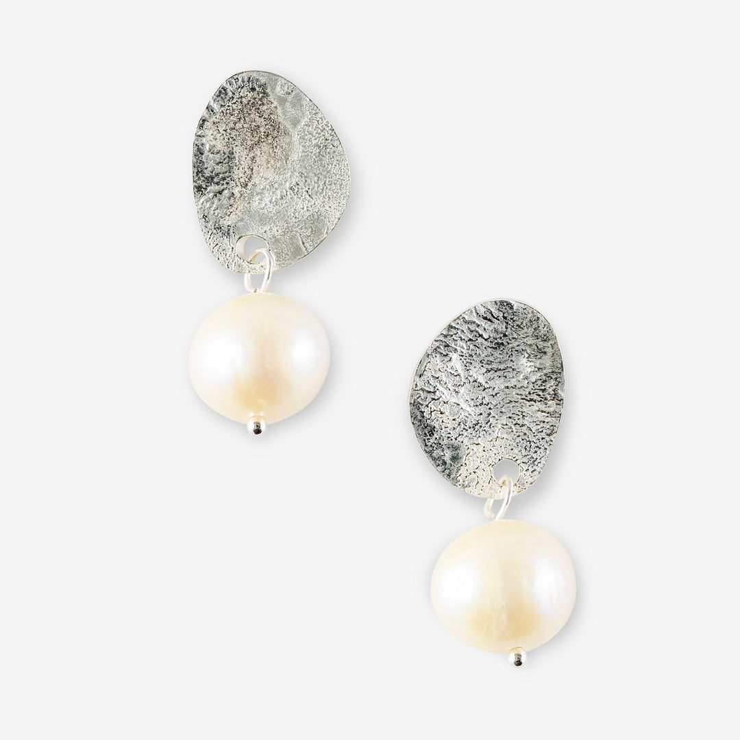 handmade silver stud earrings with white drop freshwater pearls. made in Australia by connie Dimas jEWELLERY