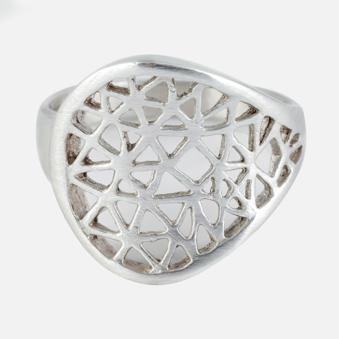 cut it out silver ring with shapes that look like a window panel.