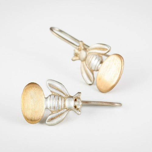 gold and silver handmade bee earrings, drop style.