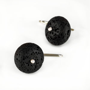 black lava rock stone earrings. Round beads with silver hooks