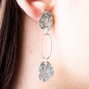 clio texture drop sterling silver earrings
