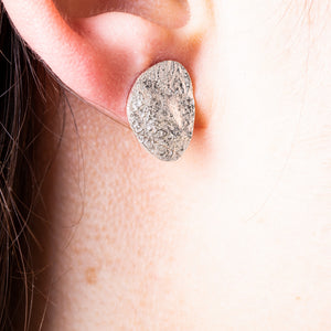 SILVER STUD EARRINGS WITH TEXTURE HANDMADE LOOK
