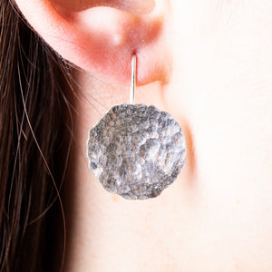 silver handmade beaten tsurface hook earrings.