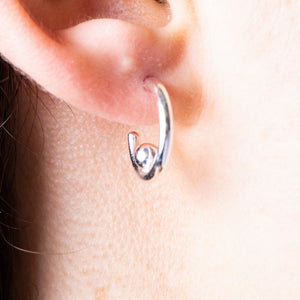 small hoop silver earring with a modern shape. Gift jewellery.