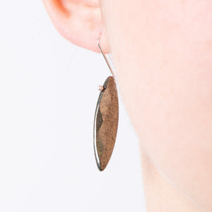 pyrite stone  leaf earrings silver