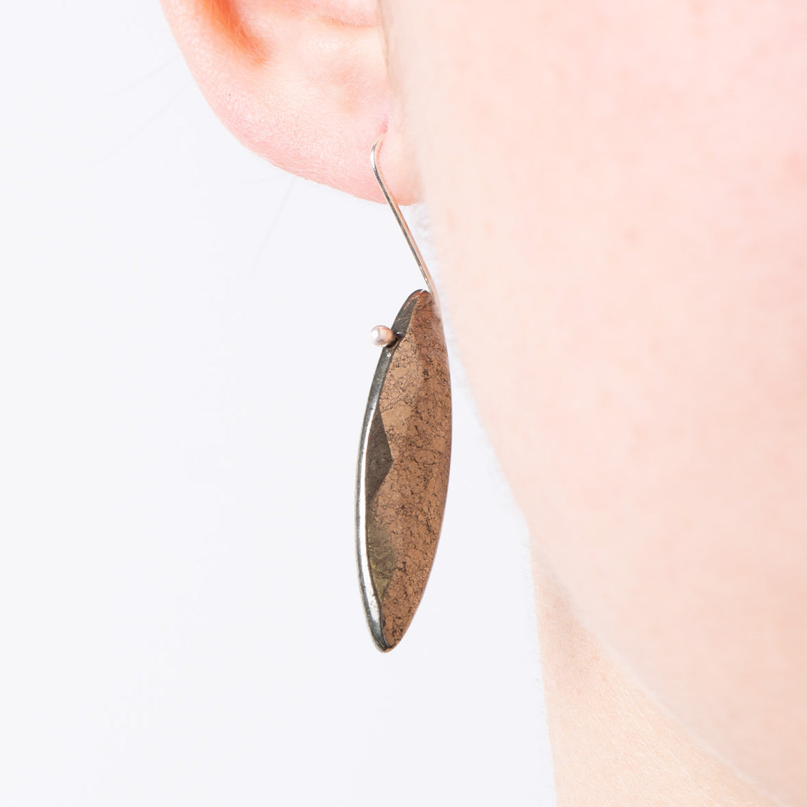 PYRITE LEAF EARRINGS - Connie Dimas Jewellery