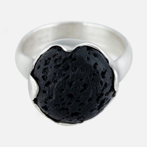 Black lava rock stone set ring. Bezel set and handmade ring. organic look.