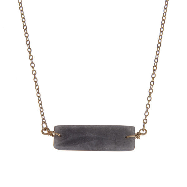 Dark Stone Bar Necklace