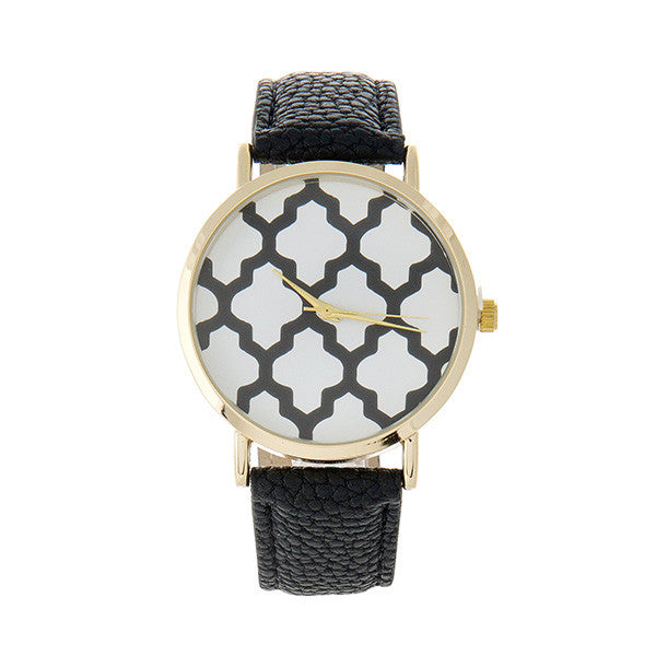 Black Patterned Watch