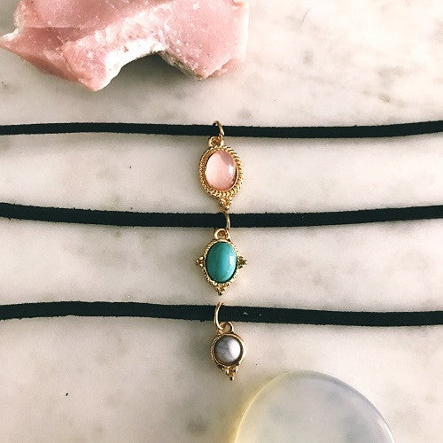 3 Piece Black Velvet Natural Stone Choker