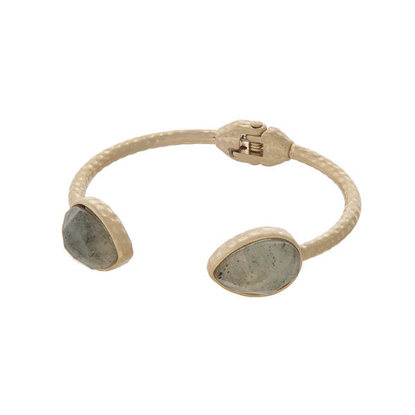 Double Teardrop Stone Bangle