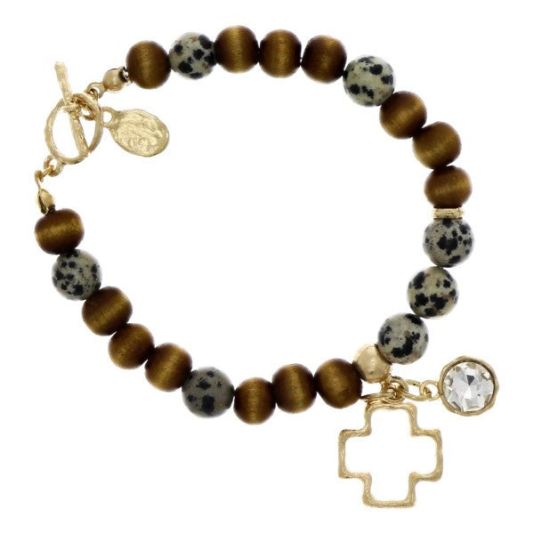 Beaded Cross Charm Bracelet