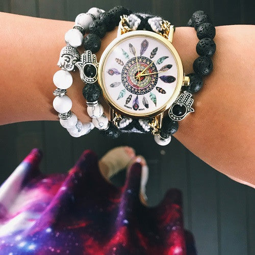 Black and White Bohemian Feather Watch