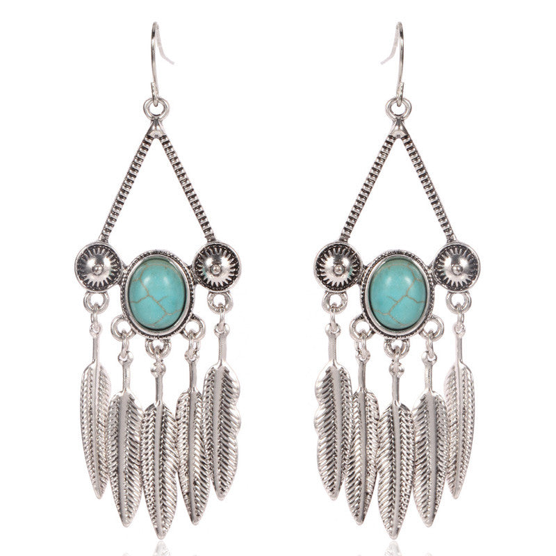 Turquoise Centered Feather Earrings