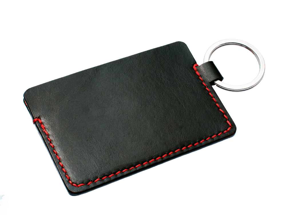 Hand Stitched Leather Keychain Wallet in Black