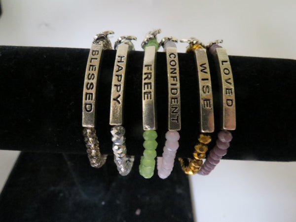 Beaded Silver Motivation Bracelets