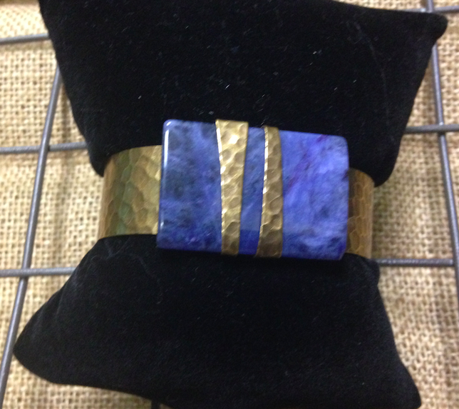 Beautiful Brass and Lapis Cuff Bracelet