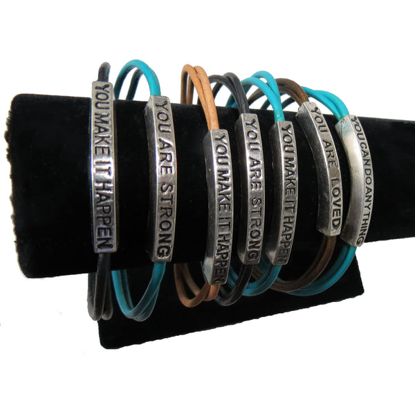 Leather Motivation Bracelets