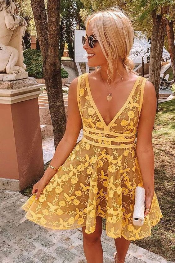 Yellow v neck lace short prom dress yellow homecoming dress