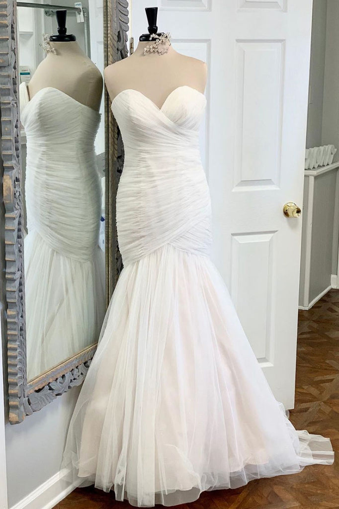 White tulle mermaid long prom dress white tulle evening dress