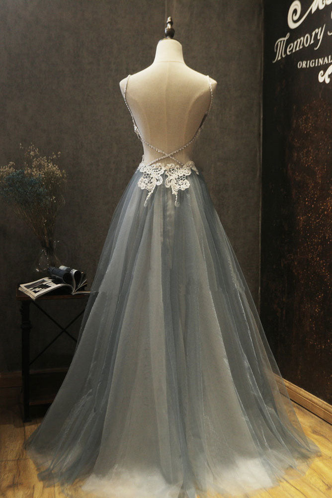 Gray sweetheart neck lace applique tulle long prom dress, gray evening dress