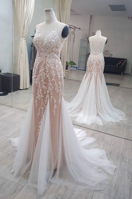 Champagne tulle mermaid long prom dress, tulle lace evening dress