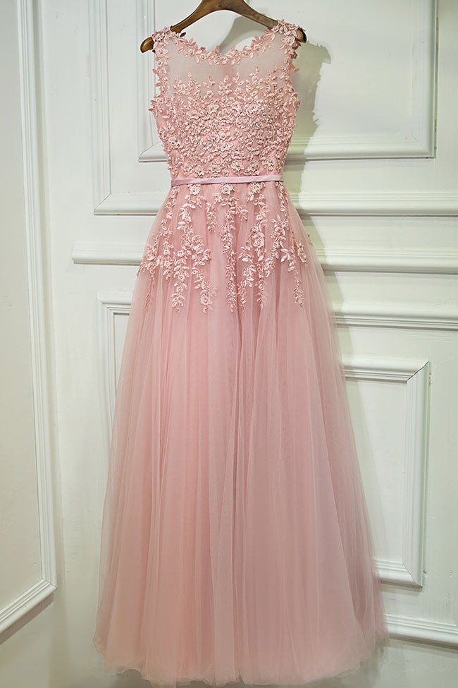 Gray round neck tulle lace long prom dress, gray bridesmaid dress ...