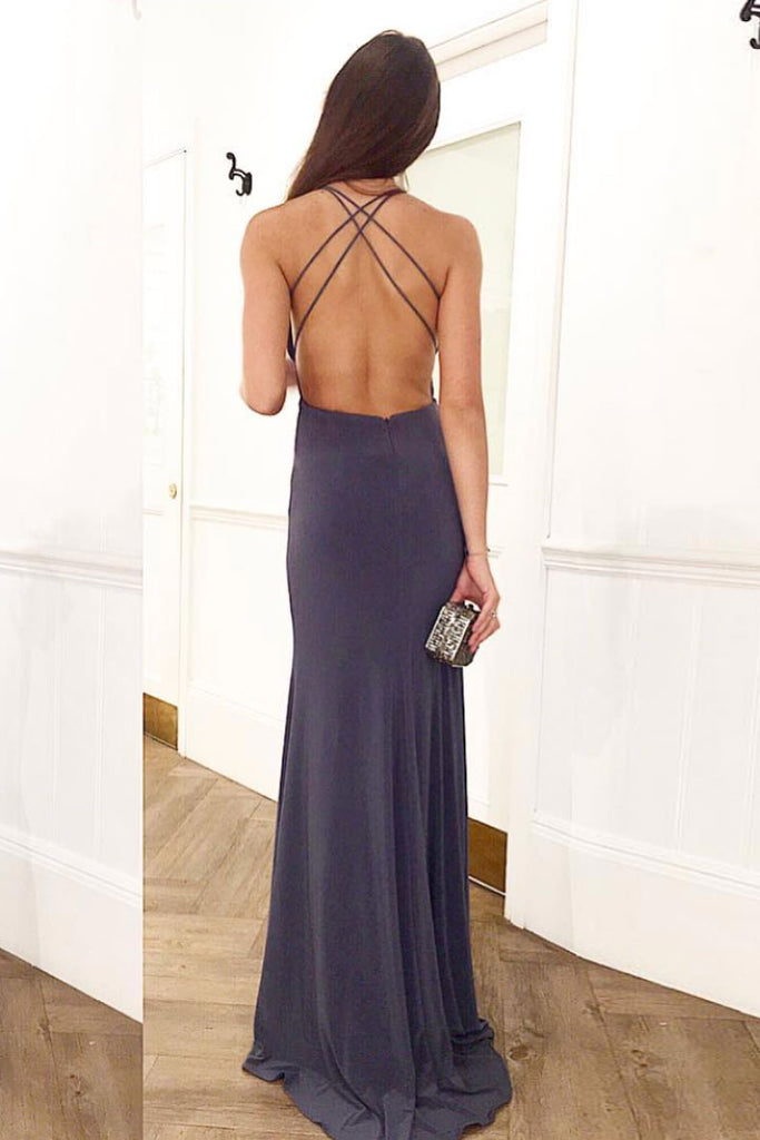 Simple v neck backless long prom dress evening dress